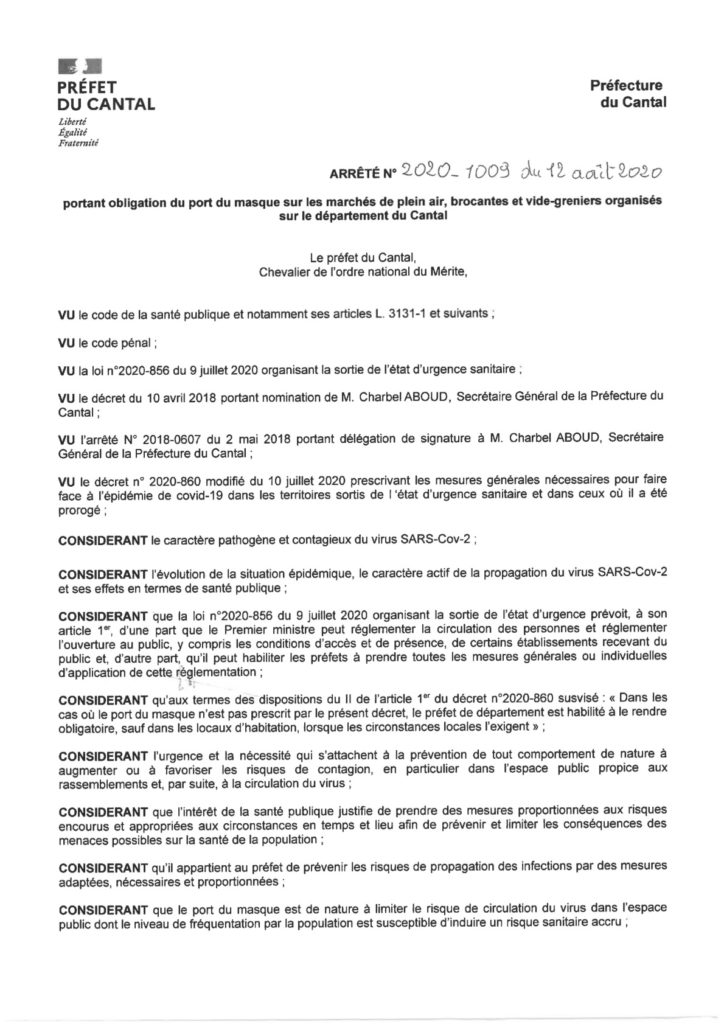 Arrêté port du masque obligatoire - Cantal