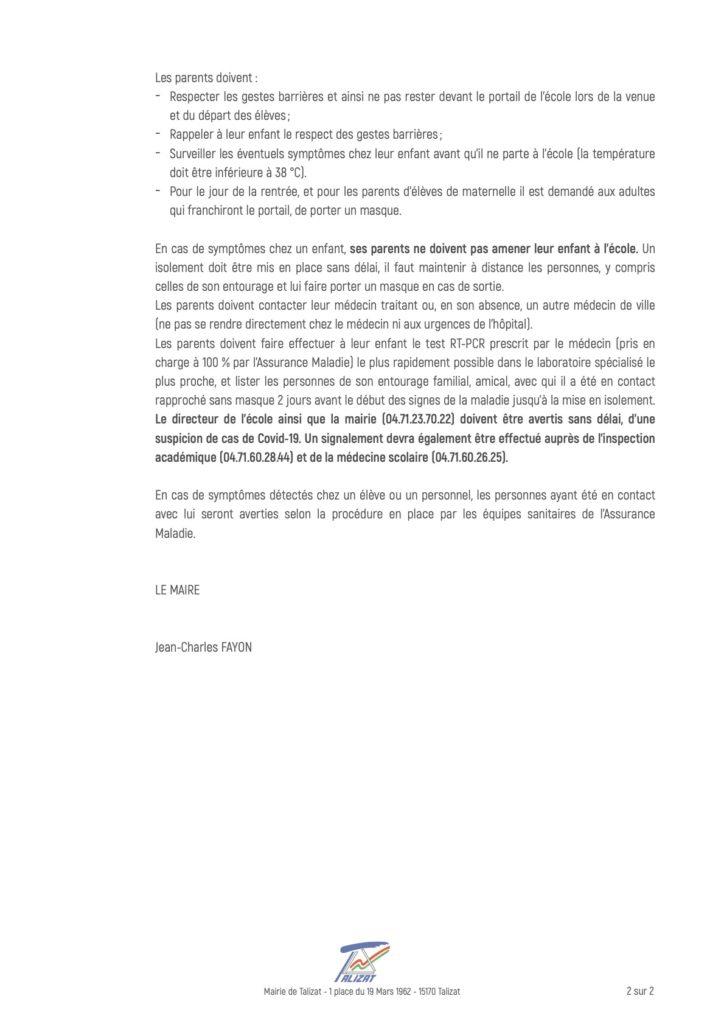 Guide sanitaire rentrée scolaire 2020-2021 Talizat